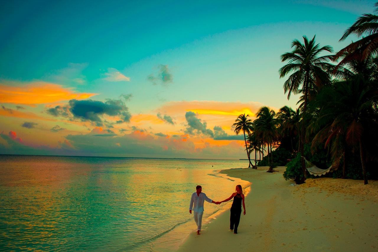 couple honeymoon on beach